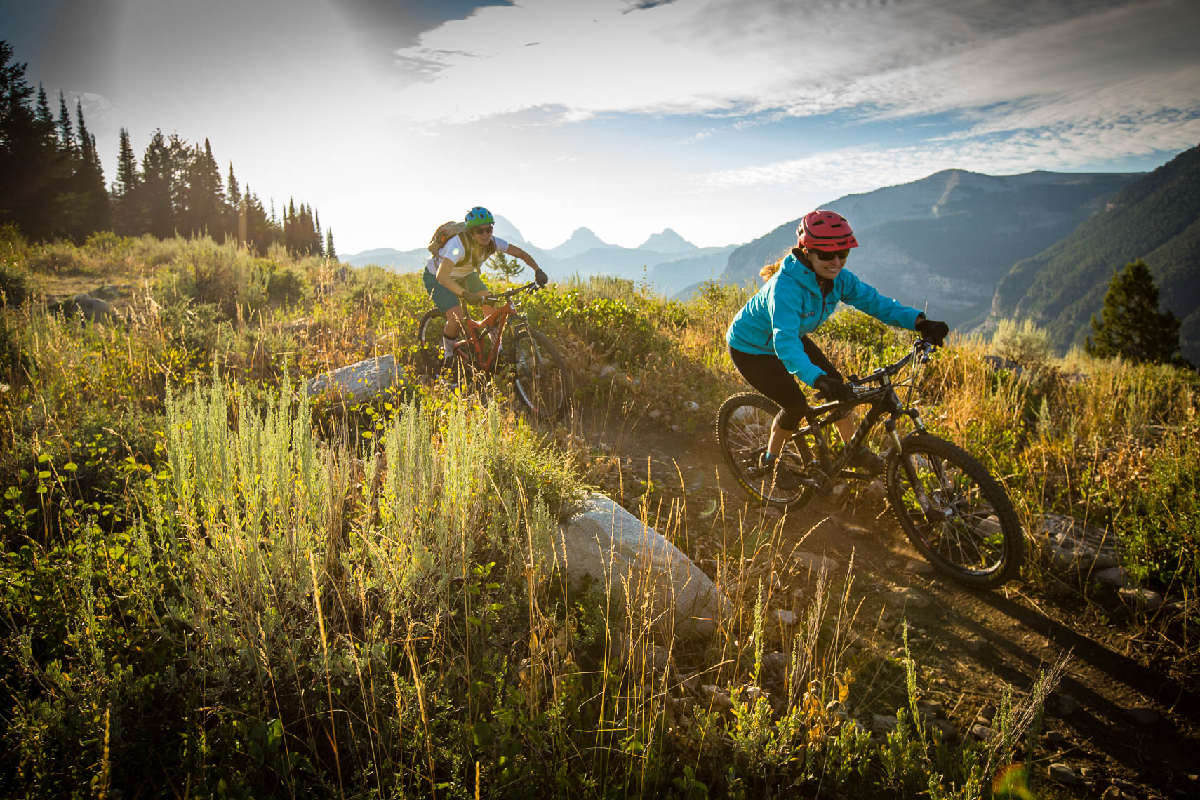 Women Mountain Biking In the Tetons