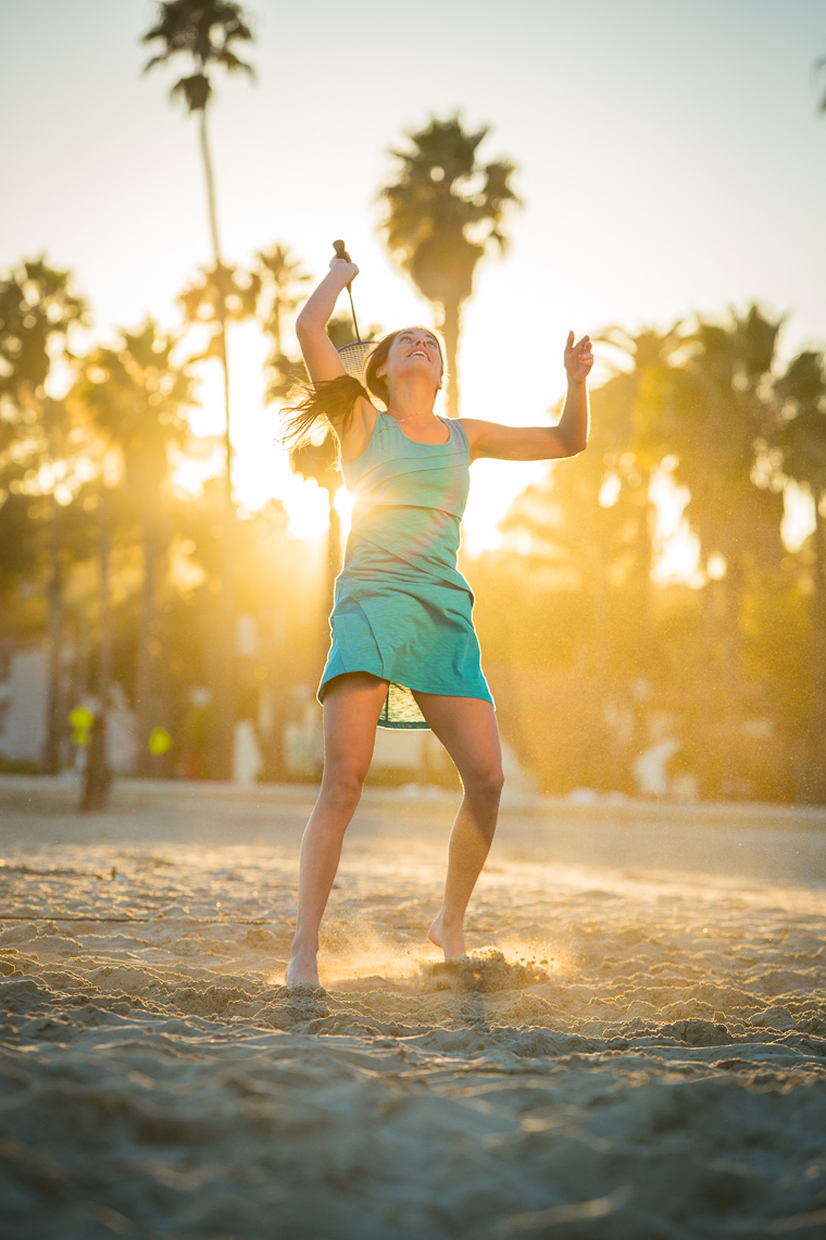 Badminton at Sunset on Southern California Beach