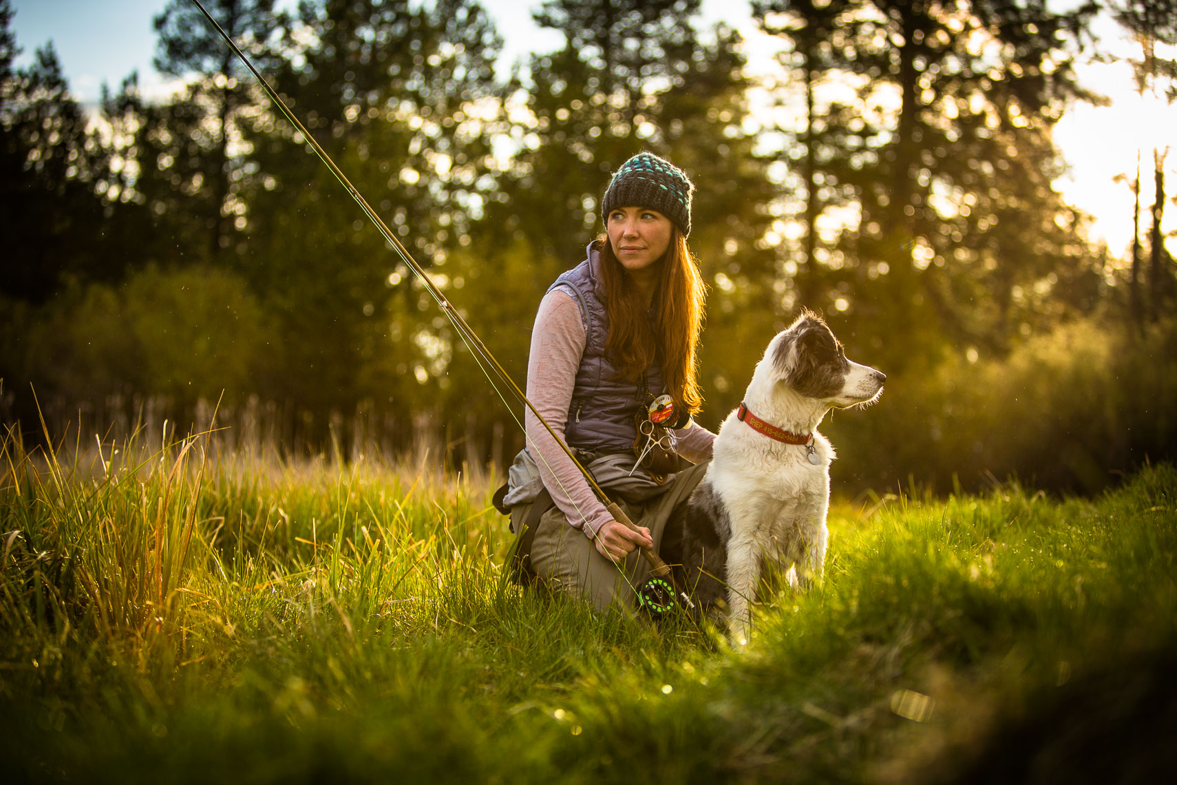 Portrait of Flyfishing Woman with Dog