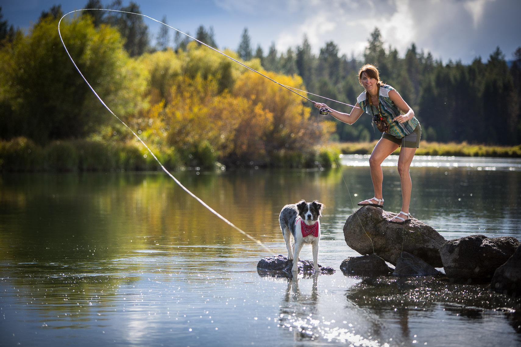 Flyfishing with Dog on the Deschutes River of Oregon