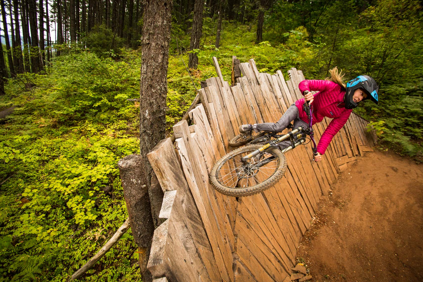 Woman on Mountain Bike Feature Post Canyon Hood River Oregon