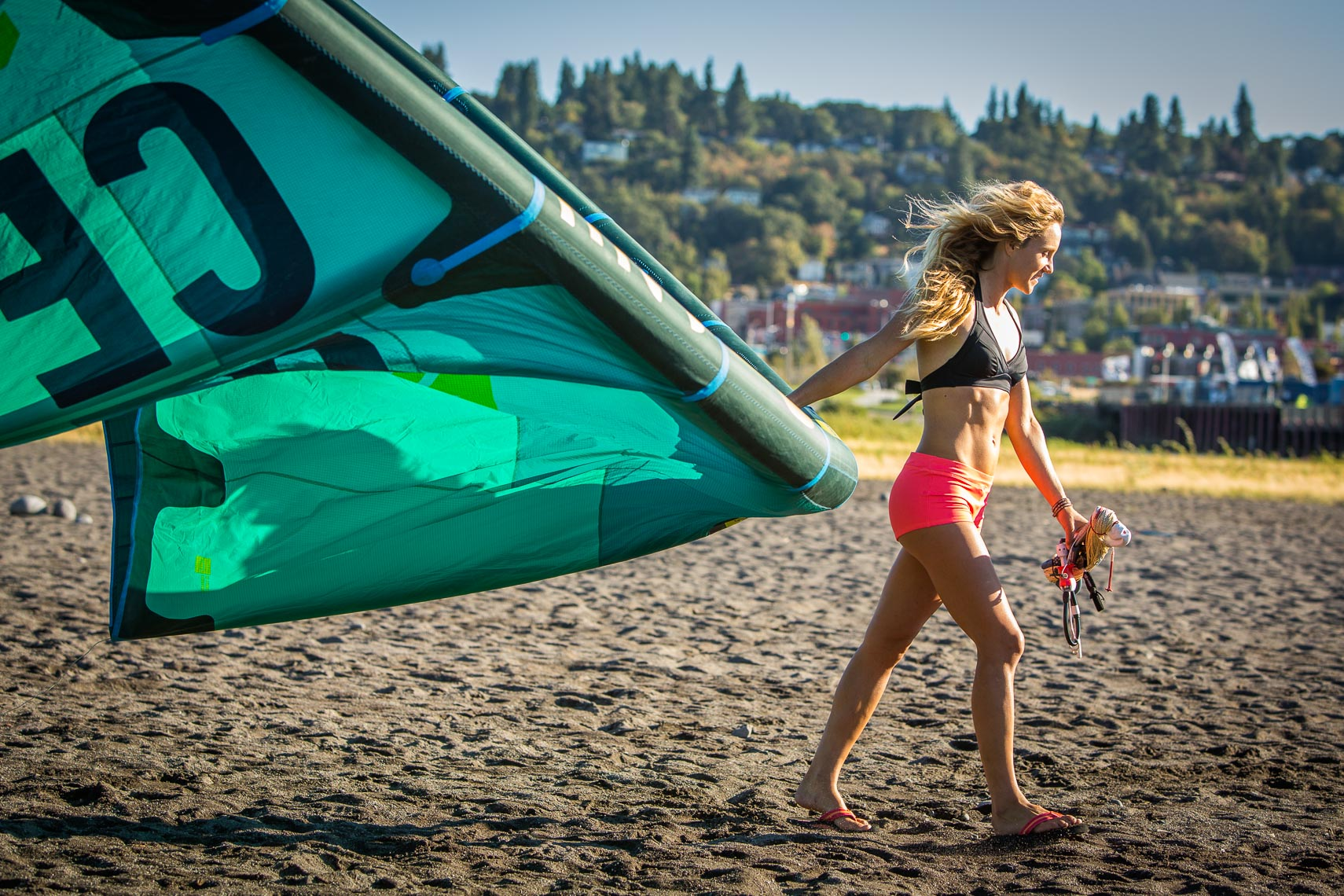 Female Kite Surfer Sand Spit on Columbia River, Hood River Oregon