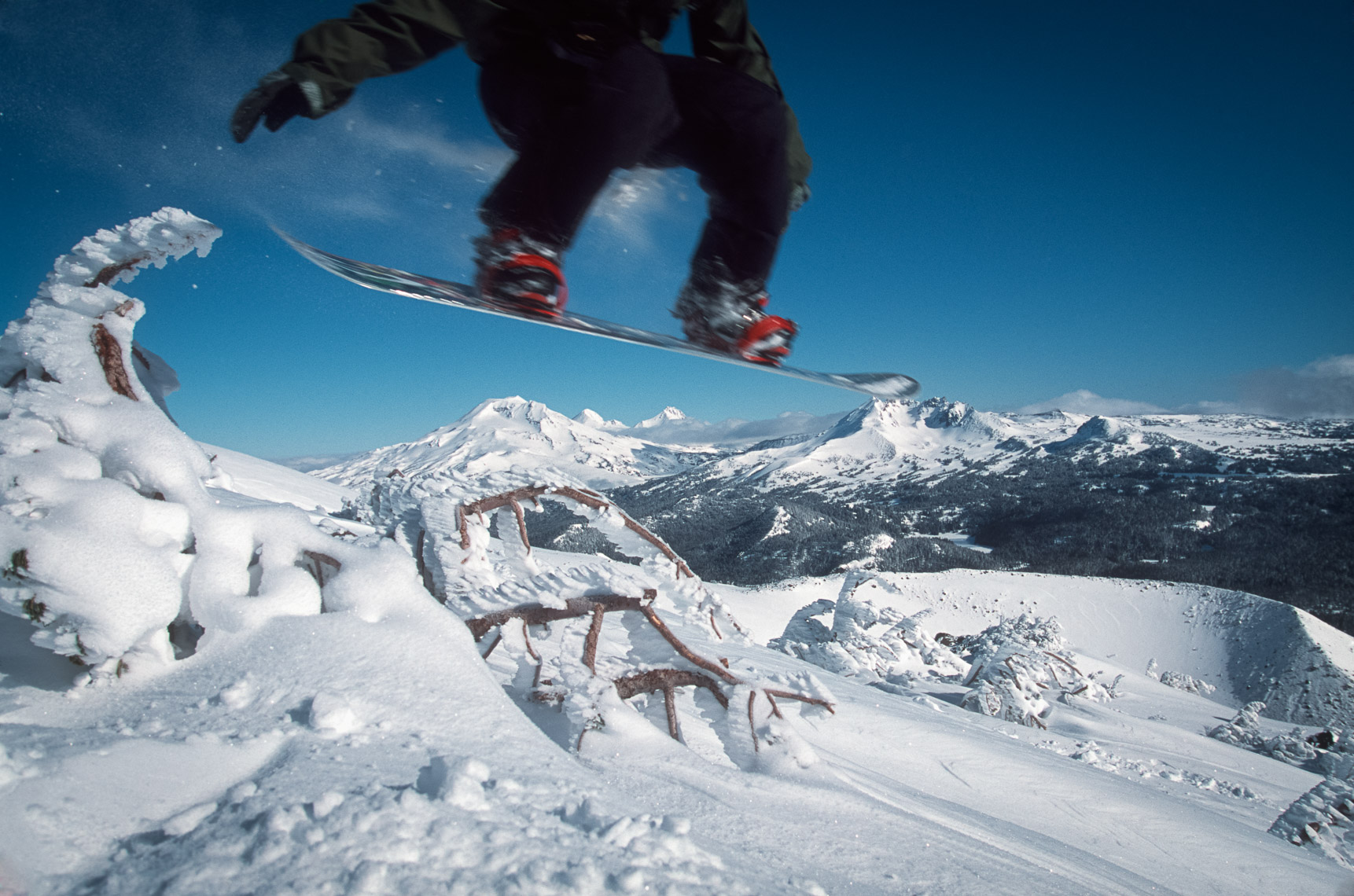 Snowboarder on Mt. Bachelor